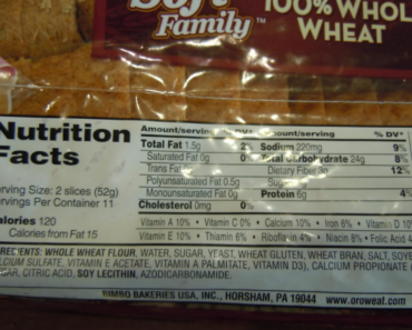 Whole Wheat Bread Nutrition facts