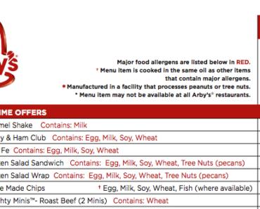 Arby's Nutritional Menu