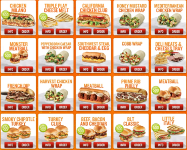 Quiznos Menu Nutrition