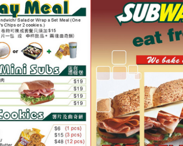 Subway Nutrional Facts